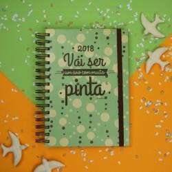 """Agenda A5 Espiral Diária """"Bolinhas"""" verde com Kit de Oferta"""