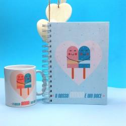 """Livro A5 """" O Nosso Amor é um Doce"""" Azul"""