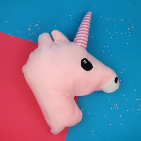 Almofada cabeça de unicórnio rosa claro
