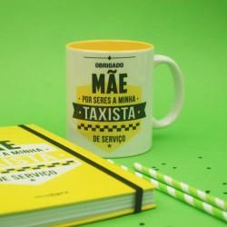 """Caneca Mãe És a minha taxista de serviço"""" Kit caixinha de lata"""""""
