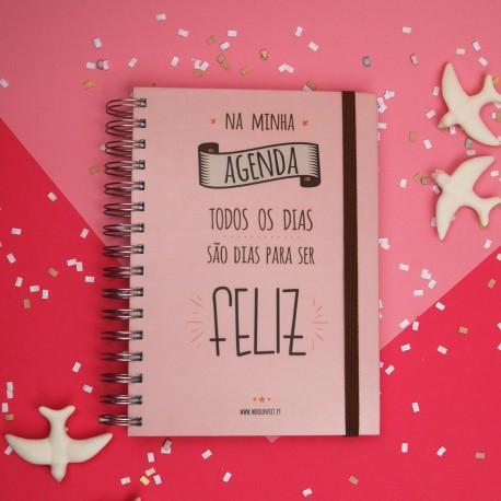 """Agenda A5 Espiral Semanal Rosa 2018 """"Todos os dias..."""" com Kit de Oferta"""