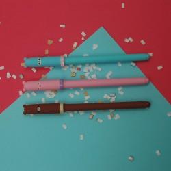 Canetas Animais  Pack de 3 uni Castanho Rosa Azul