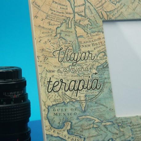 Moldura Viajar é a minha Terapia Azul
