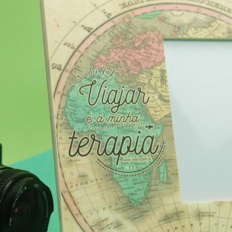 """Moldura grande """" Viajar é a minha Terapia """" Verde"""